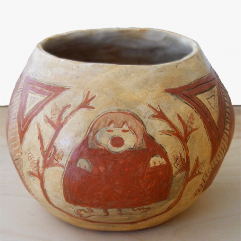 Bowl depicting obeast (Hopi), circa 1860.
