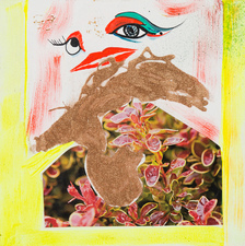 Rachel Phillips Paintings Acrylic Paint, Cut Magazine Paper, Glitter on Panel