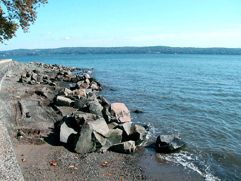 Stone sculpture installations 2000s Emergences, Nyack Beach State Park, Nyack, NY