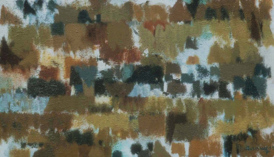 Painting 1959 Bestechetwinde 13, 1959_oil and sand on linen, 25 x 39 inches, Edinburgh