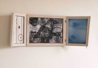 Rob Calvert Sculpture painted wood, photo embedded aluminum, pigment print, oil on paper, aluminum tube and metal hinges