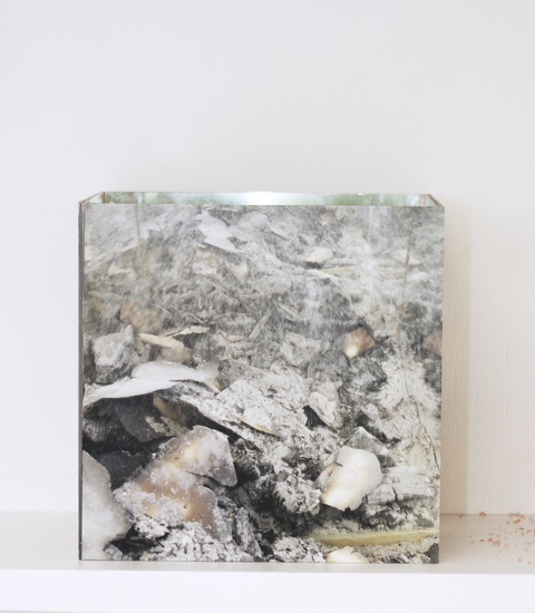 Renee Couture Sanctuary: an Echo of Frustration (2010) mirrors, digital pigment prints on Plexiglas, one month's ash from wood stove and burned paperwork