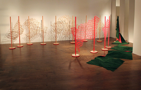 Renee Couture It All Turns on Affection wood (laser cut and readymade), astro turf, paint, hardware
