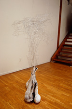Rebecca Ripple work  galvanized wire, plaster, pantyhose