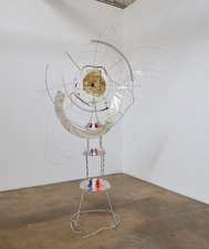 Rebecca Ripple work  Plastic, aluminum, brass, photocopy, tape, color pencil, hair, champagne foil