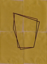 RICHARD CALDICOTT Envelope Drawings 2012 Ballpoint pen and inkjet on 4 paper envelopes