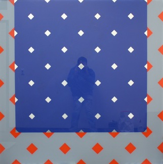 Richard Roth Selected Early Glass Paintings enamel paint and white gold leaf on glass