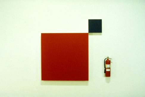 Richard Roth Selected Early Work acrylic on wood, fire extinguisher