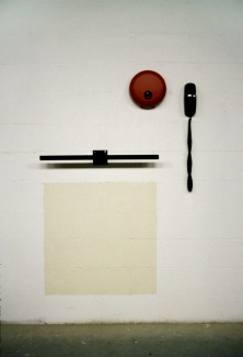 Richard Roth Selected Early Work paint on wall, painted steel, telephone, fire alarm