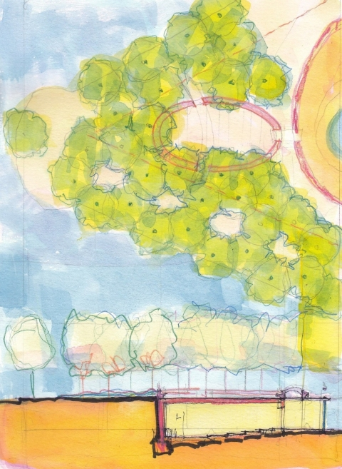 Sketches for a Memorial Garden #9661 Watercolor Sketch