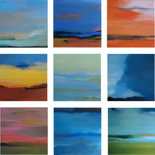 Rita Shapiro Multiple Panel Paintings Oil on 9 Canvases