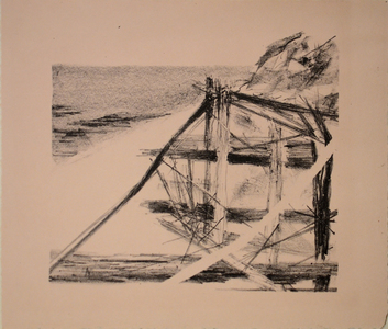 Robbie Sugg Beach Structures Lithograph