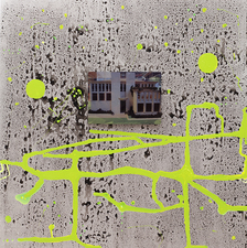 ROBERTA NIGRO HALL With in the Larger Context II Ink on aluminum panel, with attached digital image on aluminum