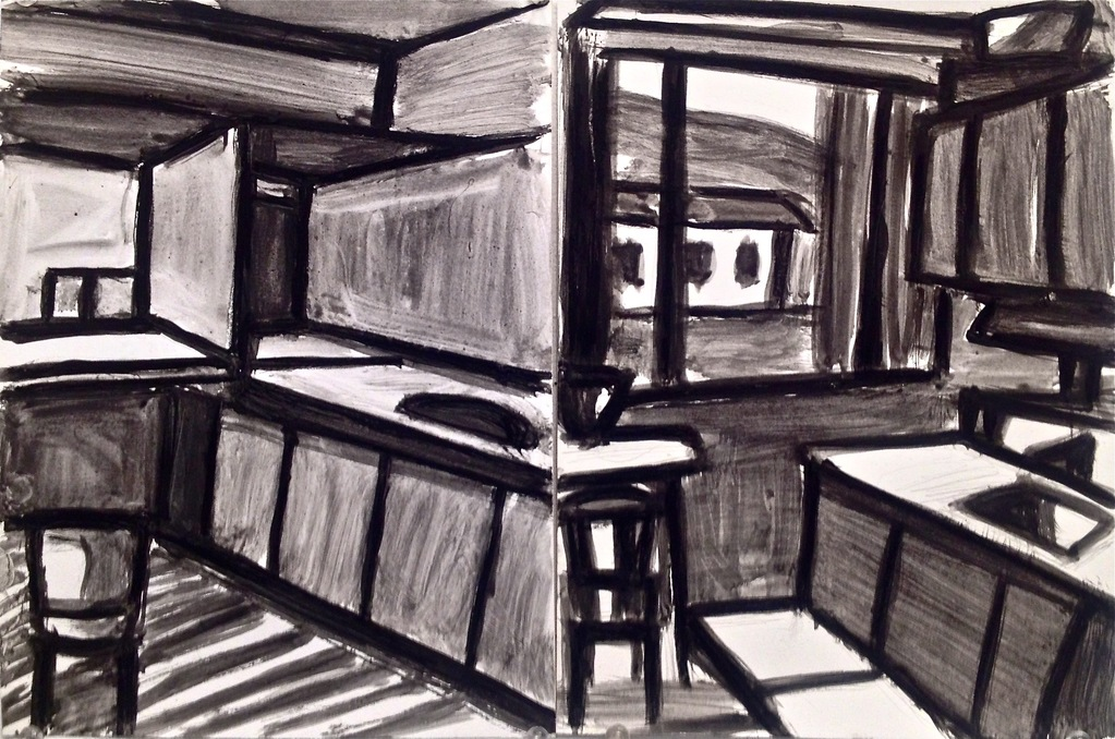 Robert G. Edelman        Art Consultant/Writer/Independent Curator     Interiors  gouache, ink on paper