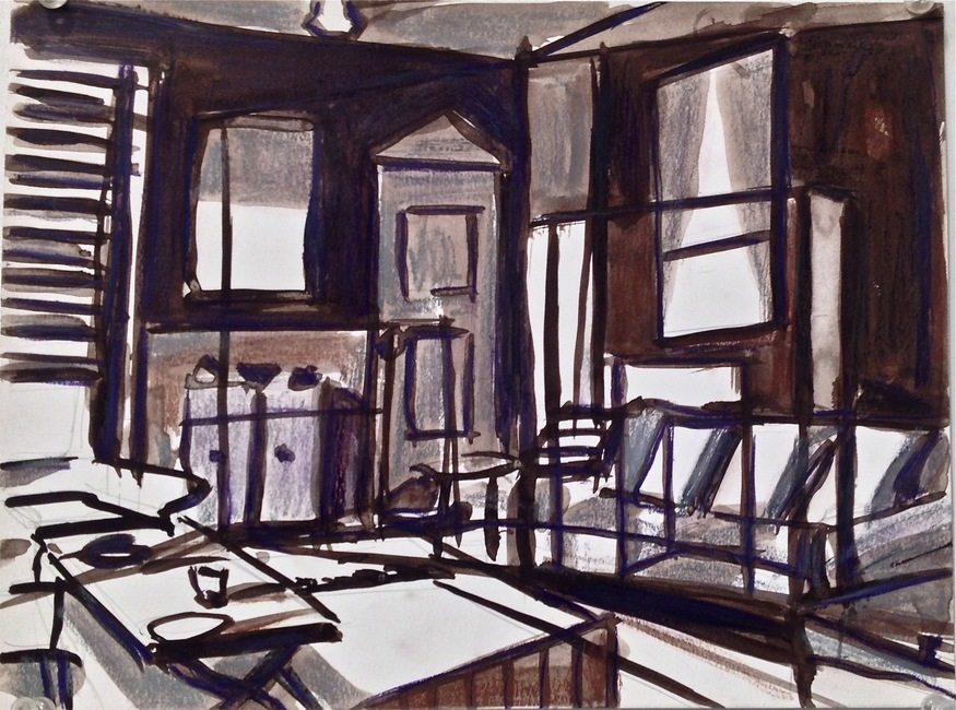 Robert G. Edelman        Art Consultant/Writer/Independent Curator     Interiors  Ink, pastel, charcoal on paper
