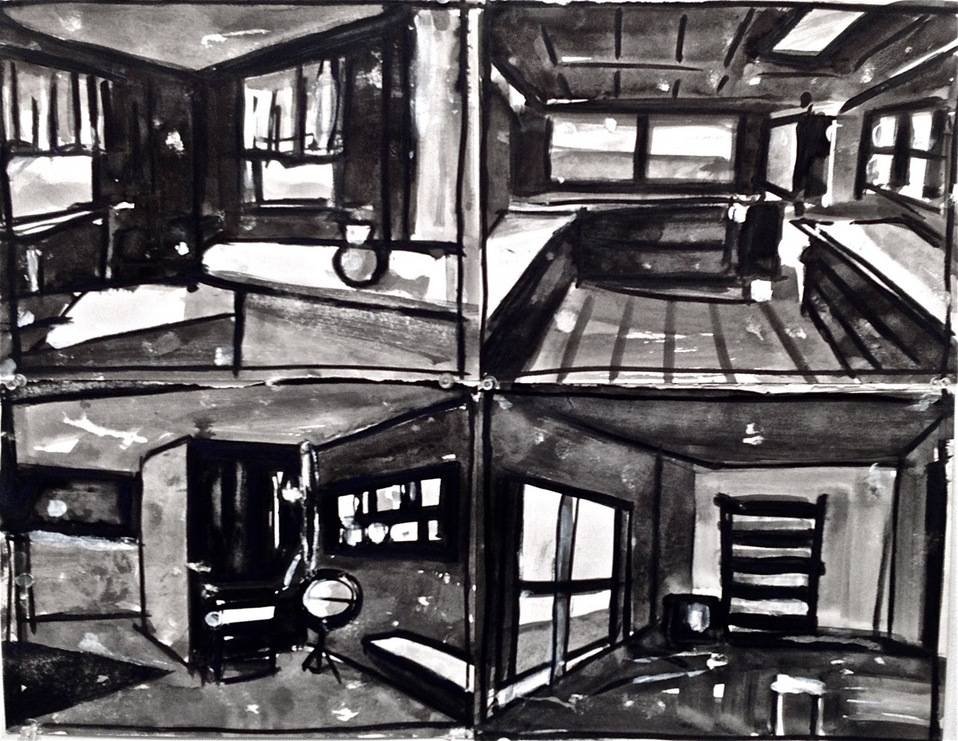 Robert G. Edelman        Art Consultant/Writer/Independent Curator     Interiors  ink wash on paper