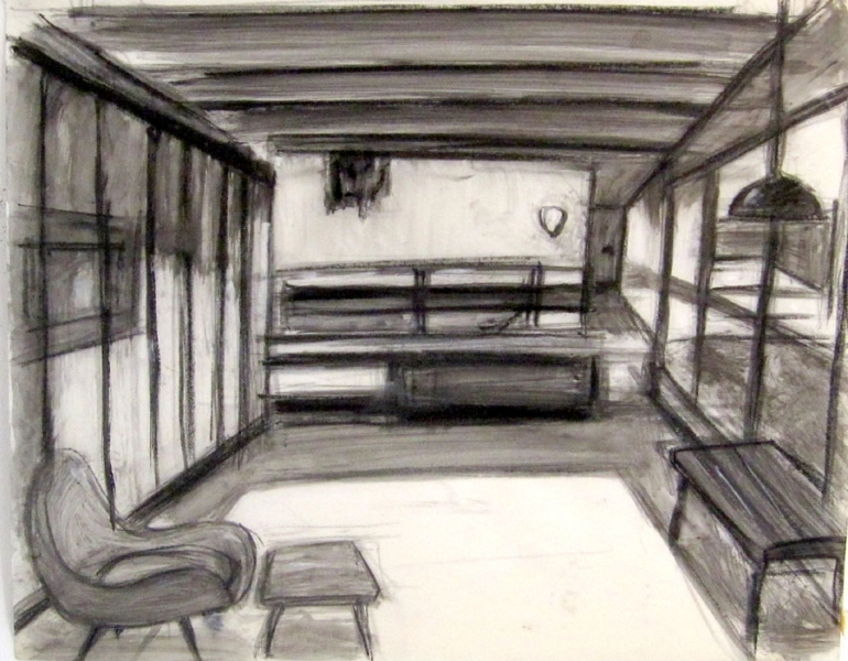 Robert G. Edelman        Art Consultant/Writer/Independent Curator     Interiors  ink, graphite on tracing paper