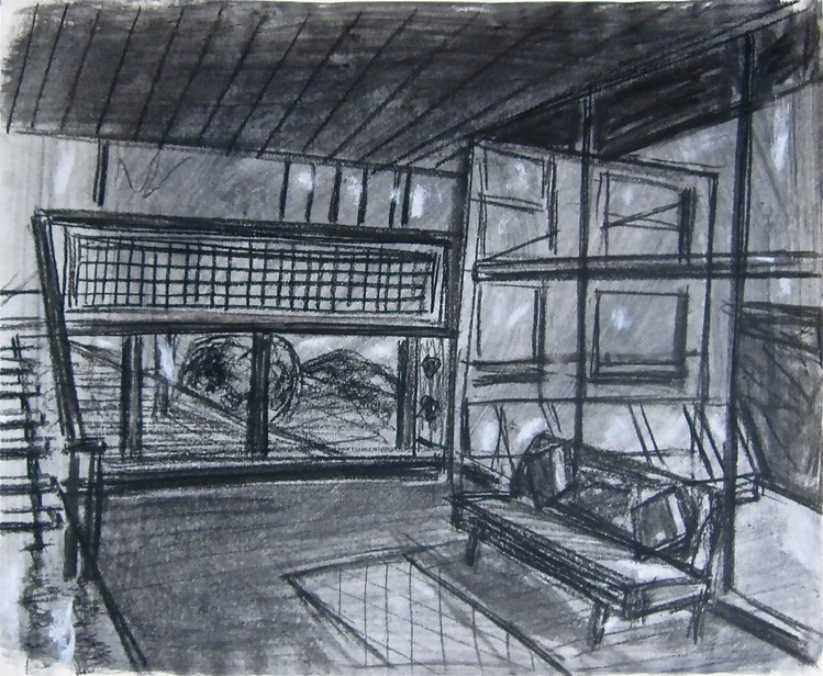Robert G. Edelman        Art Consultant/Writer/Independent Curator     Interiors  Graphite, charcoal and pastel on paper