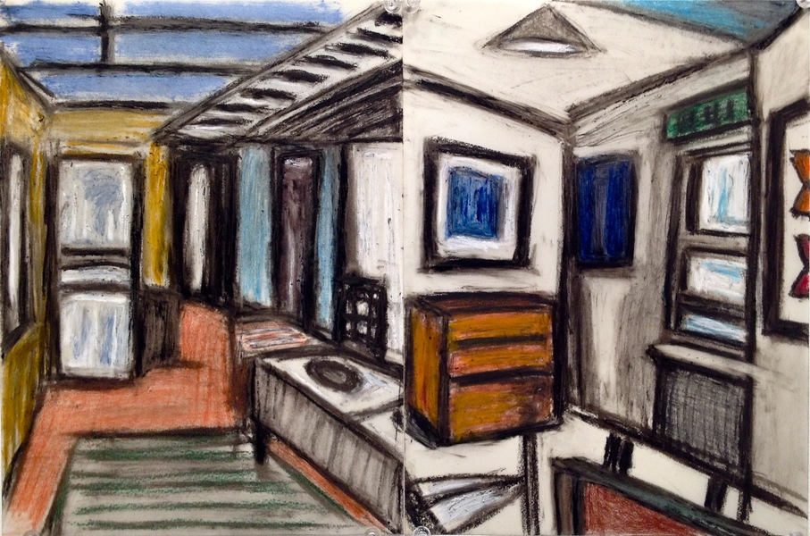 Robert G. Edelman        Art Consultant/Writer/Independent Curator     Interiors  Oilstick, colored pencil and pastel on vellum