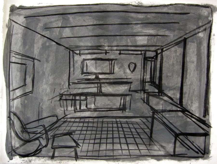 Robert G. Edelman        Art Consultant/Writer/Independent Curator     Interiors  gouache, charcoal, graphite on paper