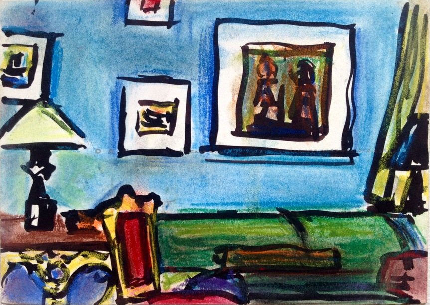 Robert G. Edelman        Art Consultant/Writer/Independent Curator     Interiors  Ink, watercolor, pastel on paper