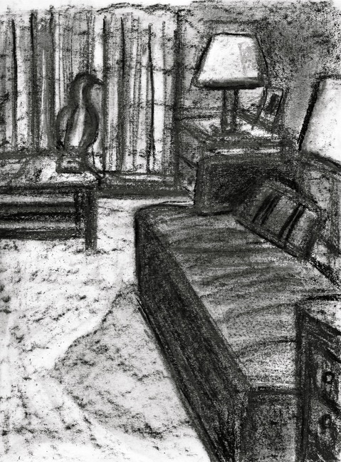 Robert G. Edelman        Art Consultant/Writer/Independent Curator     Interiors  Charcoal, graphite on paper