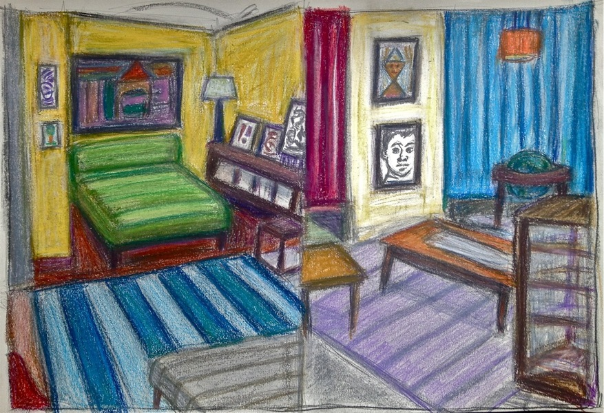 Robert G. Edelman        Art Consultant/Writer/Independent Curator     Interiors  Pastel, colored pencil, graphite on paper