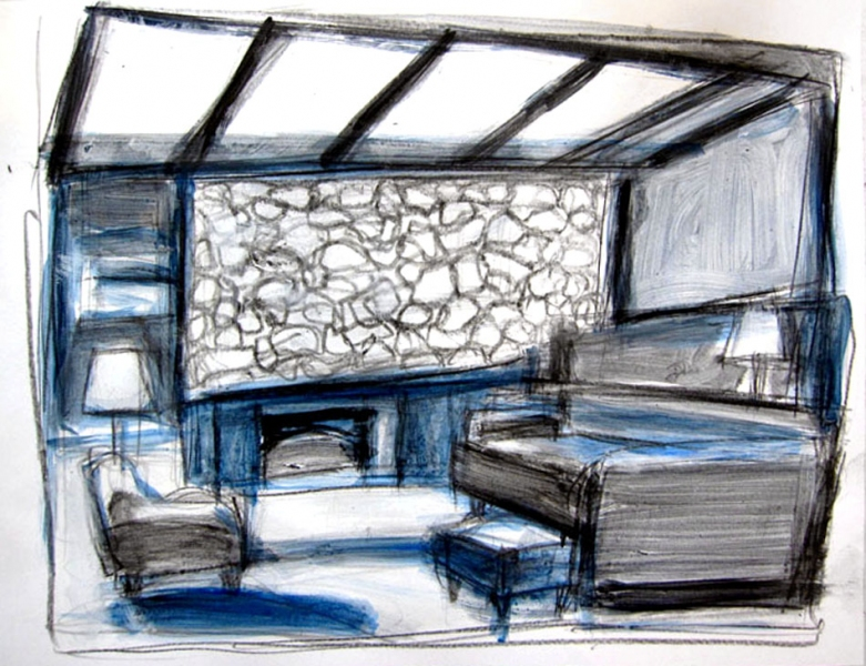 Robert G. Edelman        Art Consultant/Writer/Independent Curator     Interiors  acrylic, ink and graphite on paper