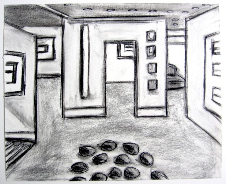 Robert G. Edelman        Art Consultant/Writer/Independent Curator     Interiors  charcoal, garphite on paper