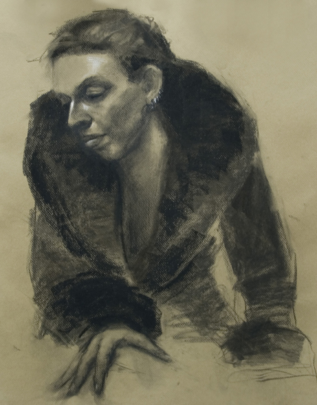 Drawing Woman with Fur Coat