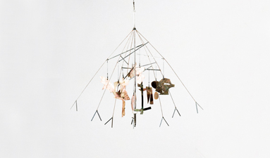 Robin M Jordan Hanging Sculpture umbrella detritus, copper, brass, silver, steel, swivel