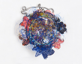Robin M Jordan Embroideries steel, polypropylene, thread, fabric, acrylic, umbrella detritus