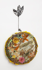 Robin M Jordan Poured steel, polymer, dried flowers and twigs, silk flowers
