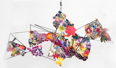 Robin M Jordan Hanging Sculpture fabric, thread, plastic, umbrella spokes, copper rivets