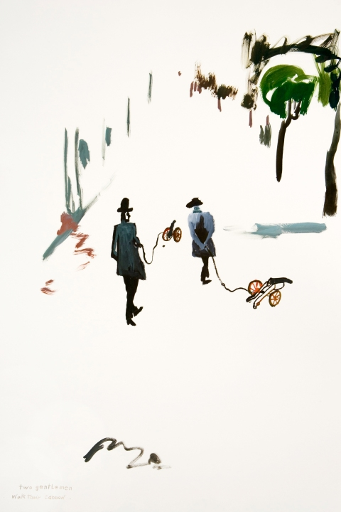 Works on paper  2000 to Present Two gentlemen walk their cannon.