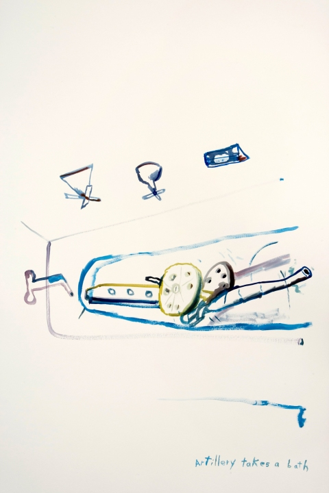 Works on paper  2000 to Present Artillery takes a bath.