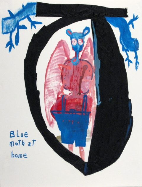 Works on paper  2000 to Present Blue Moth At Home