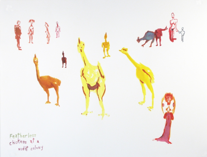 Works on paper  2000 to Present Featherless chickens at a nudist colony