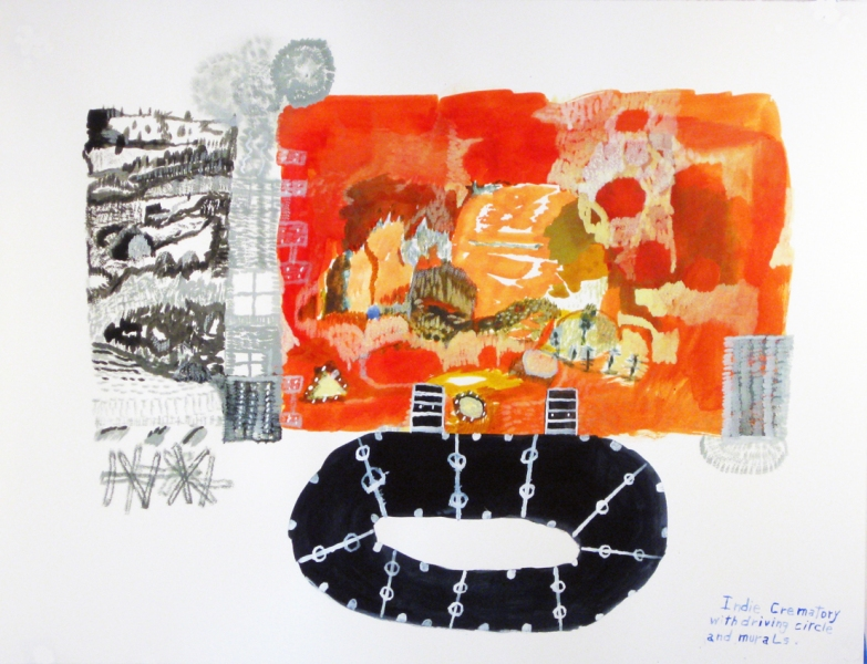 Works on paper  2000 to Present Indie crematory with driving circle and murals.
