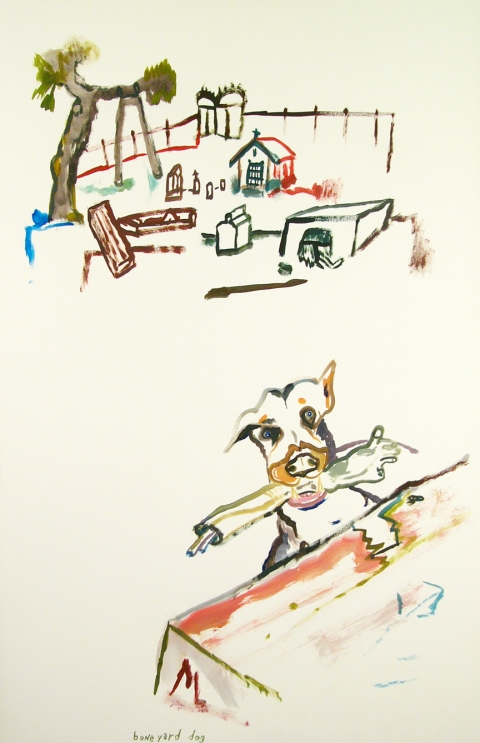 Works on paper  2000 to Present Bone yard dog.