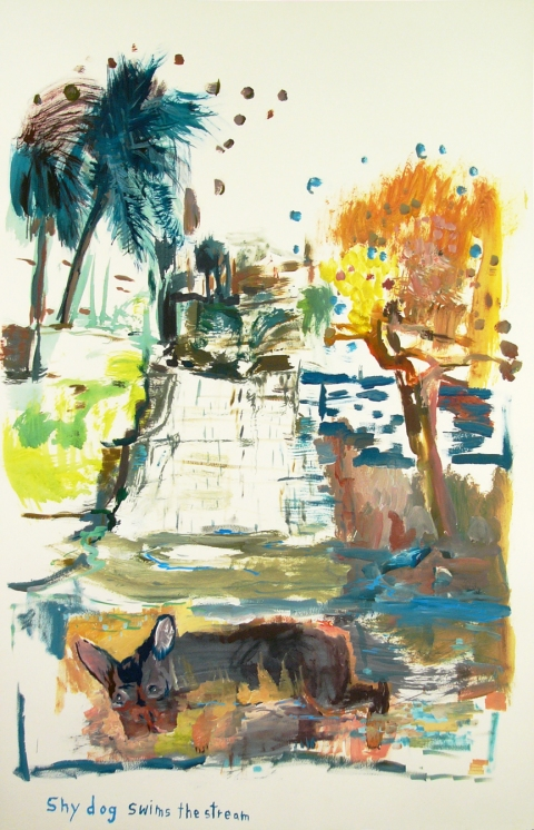Works on paper  2000 to Present Shy dog swims the stream.