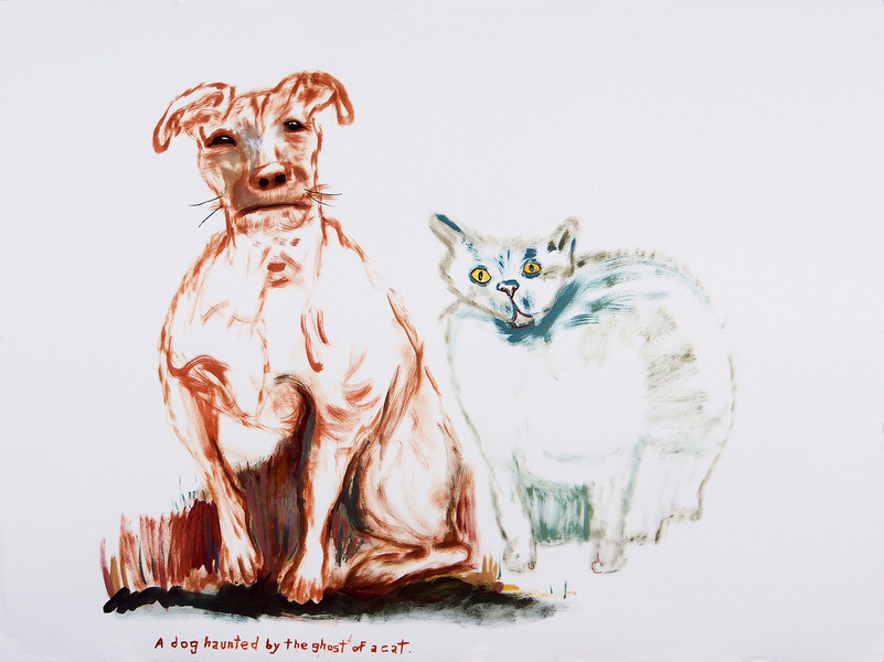 Works on paper  2000 to Present A dog haunted by the ghost of a cat