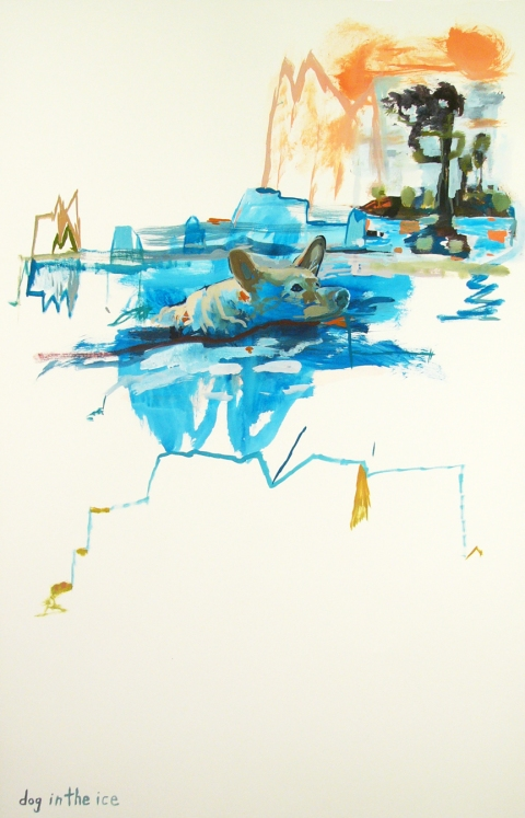 Works on paper  2000 to Present Dog in the ice.