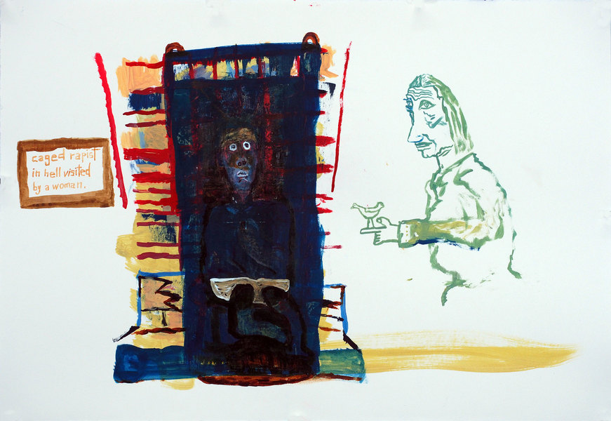 Works on paper  2000 to Present Caged rapist in hell visited by a woman.