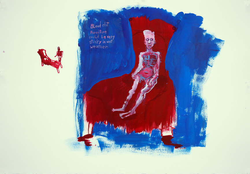 Works on paper  2000 to Present Blood clot furniture should be very stick in wet weather.