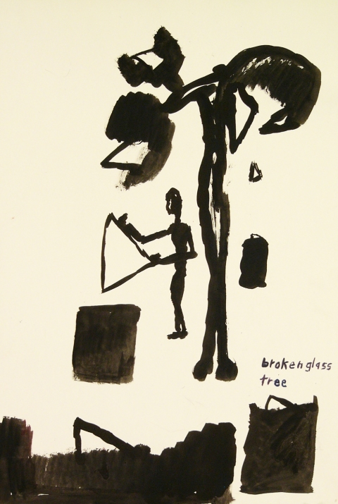 Works on paper  2000 to Present Broken glass tree.