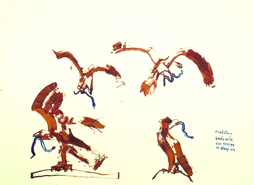 Works on paper  2000 to Present Predatory birds with blue snakes in sharp air.