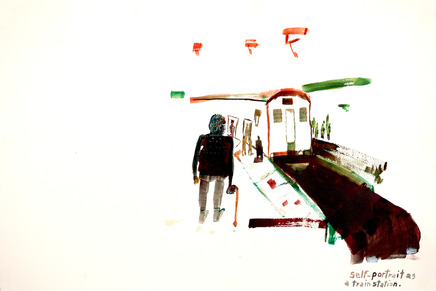 Works on paper  2000 to Present Self-portrait as a train station.