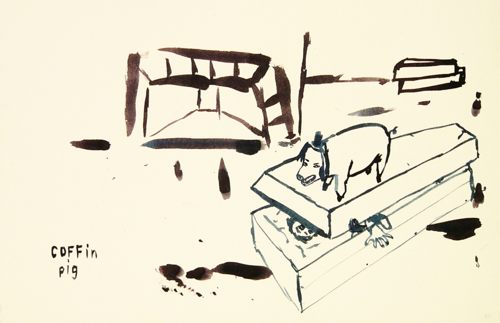 Works on paper  2000 to Present Coffin pig.