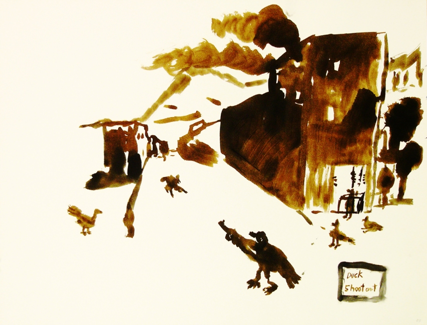 Works on paper  2000 to Present Duck shootout.